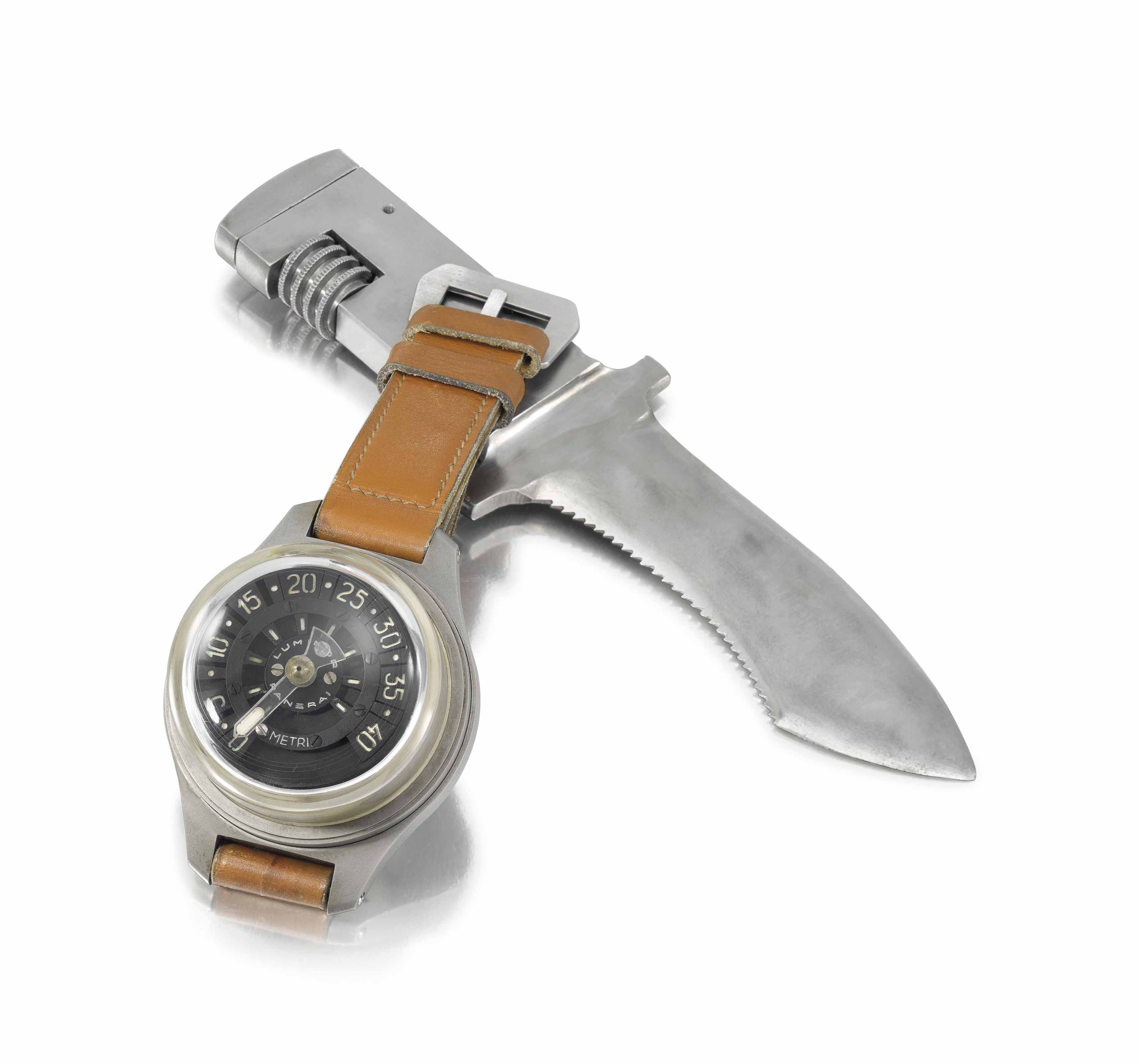 Panerai. A very rare and massive stainless steel wrist depth gauge with diver's knife