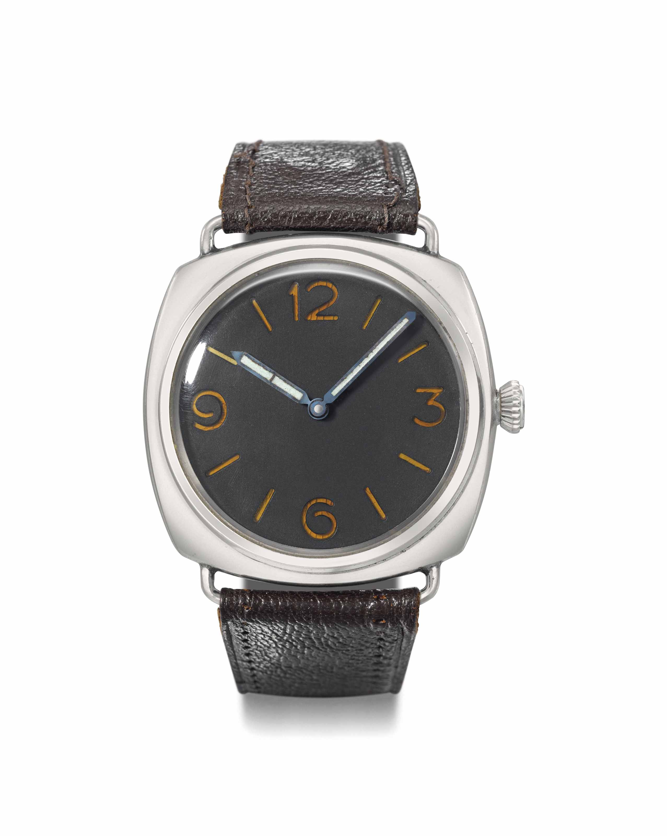 Rolex made for Officine Panerai. A rare and large stainless steel cushion-shaped diver's wristwatch
