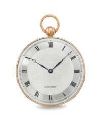 Vaucher Frères. A very rare, large and unusual silver and 18K pink gold openface cylinder watch with box
