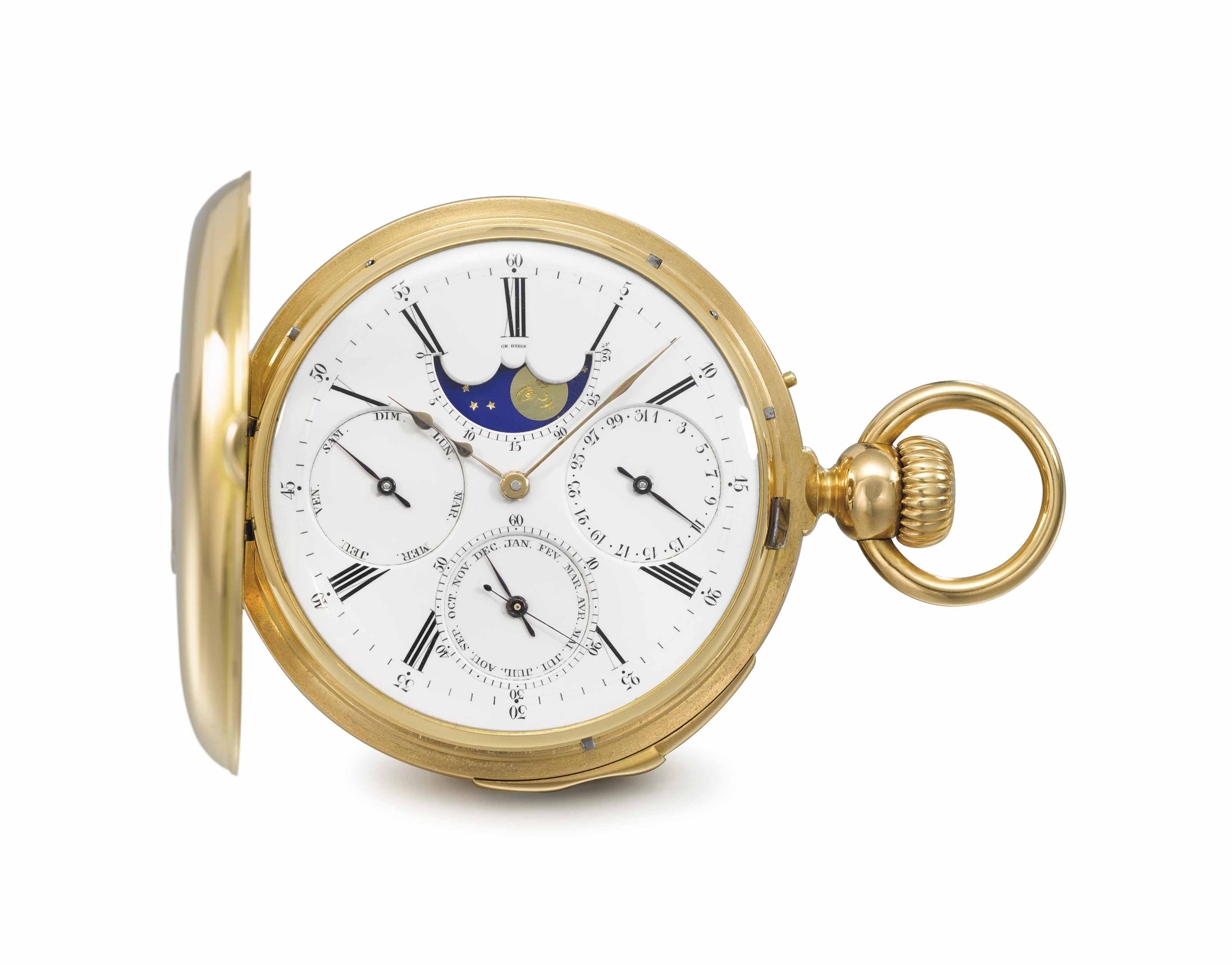 Louis Audemars, made for Charles Oudin. A fine, rare and early 18K gold half hunter case quarter repeating full calendar keyless lever watch with moon phases