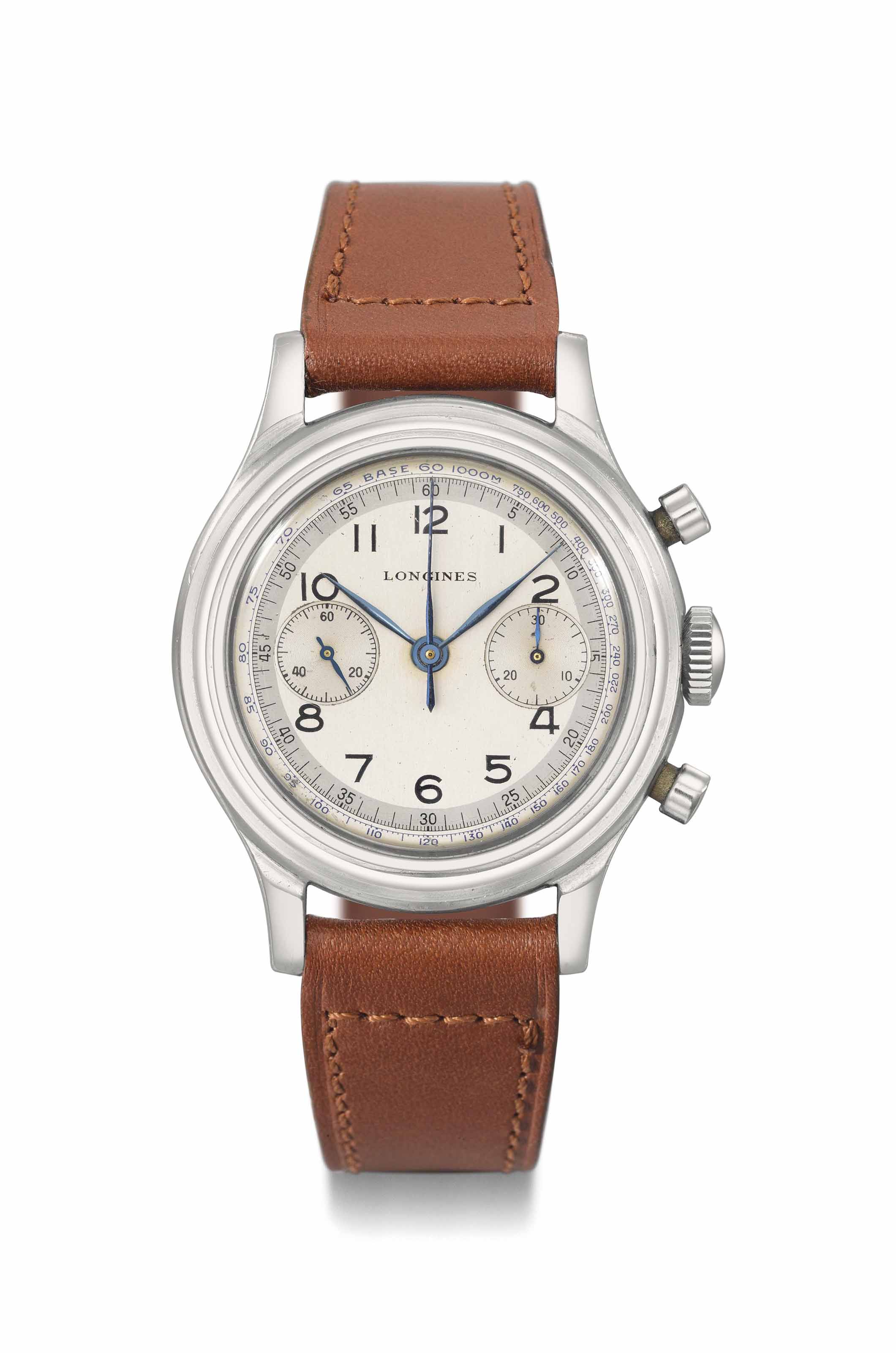 Longines. A very attractive and rare stainless steel flyback chronograph wristwatch with two-tone silvered sector dial