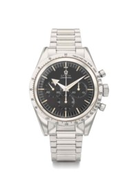 Omega. A fine, important and extremely rare stainless steel chronograph wristwatch with bracelet