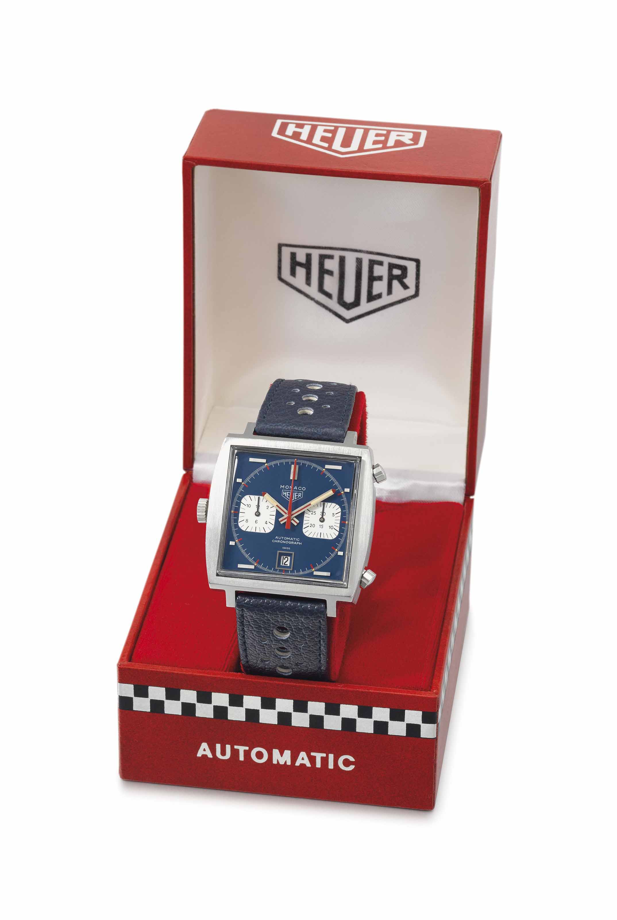 Heuer. A rare stainless steel square automatic chronograph wristwatch with date