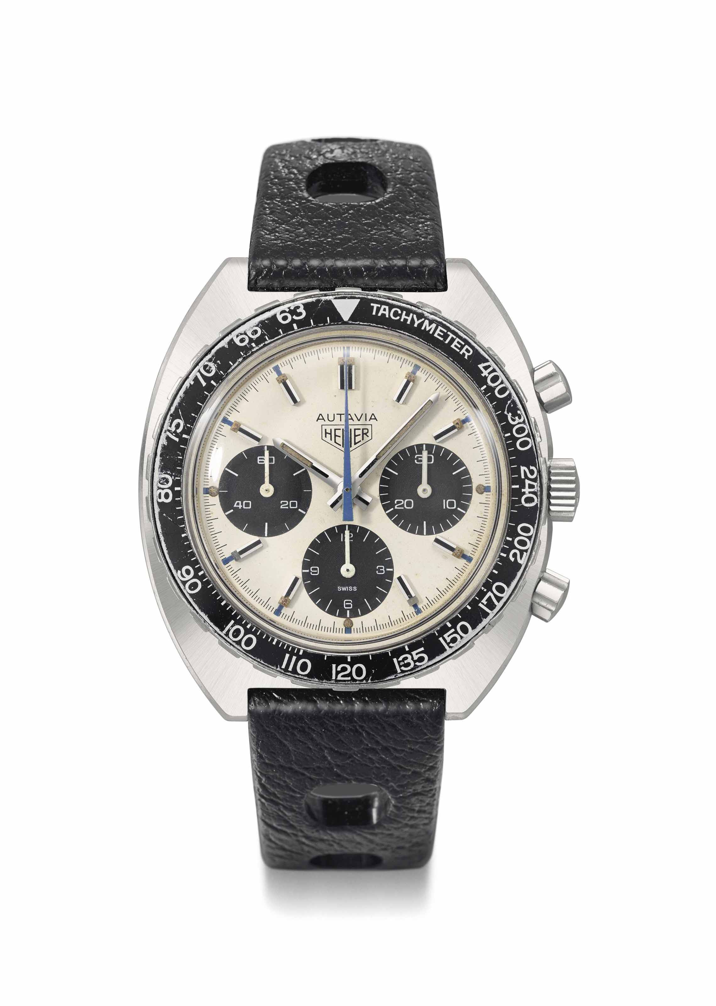 Heuer. An attractive stainless steel chronograph wristwatch