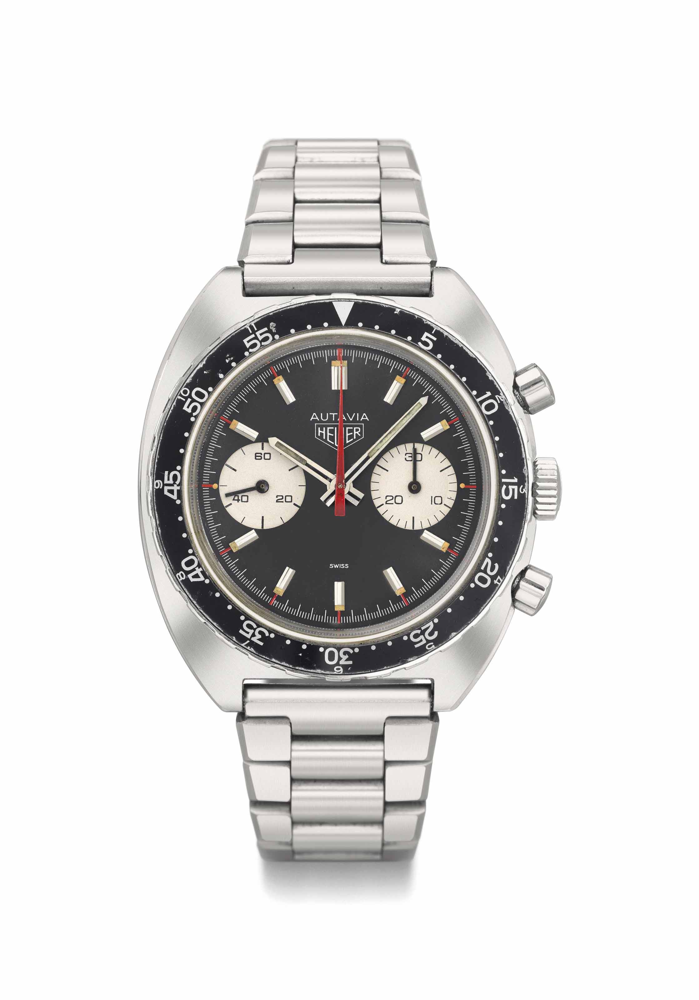 Heuer. An attractive stainless steel chronograph wristwatch with bracelet