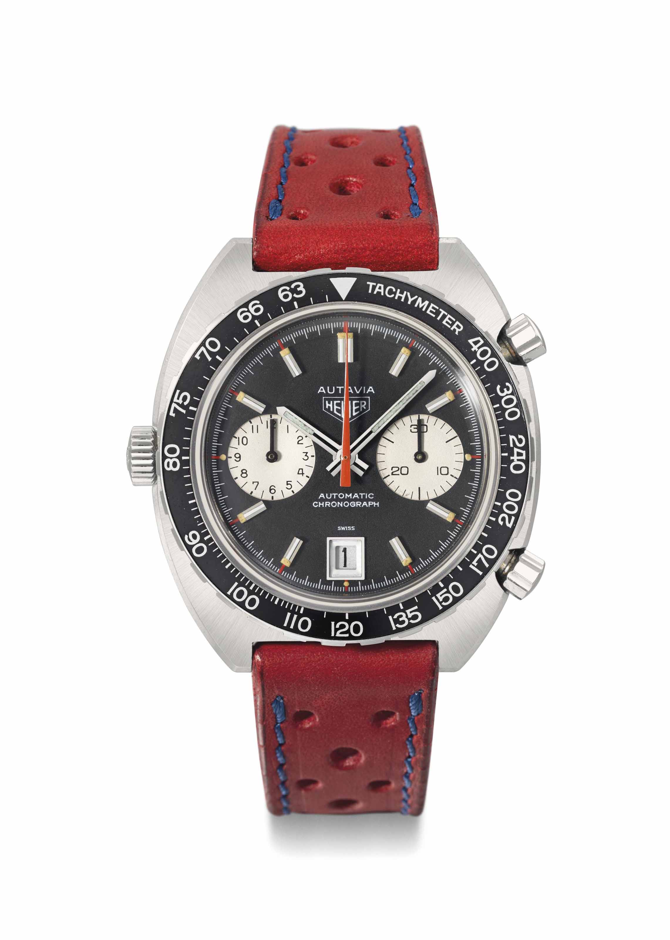 Heuer. A fine and attractive tonneau-shaped automatic chronograph wristwatch with date