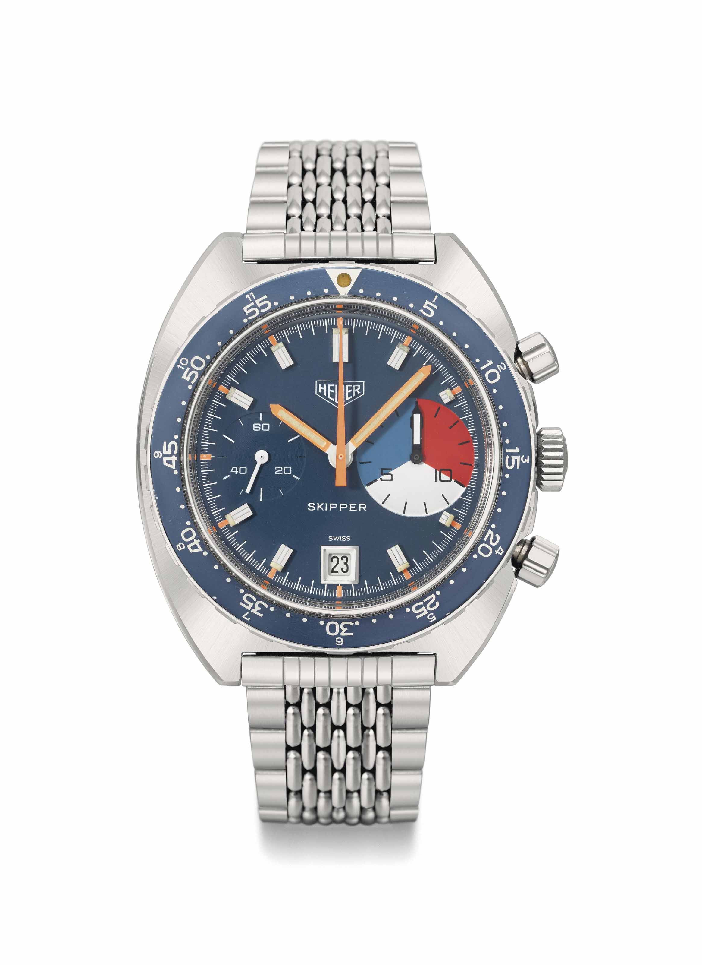 Heuer Leonidas. A rare and attractive and unusual stainless steel yacht timer chronograph wristwatch with date and bracelet