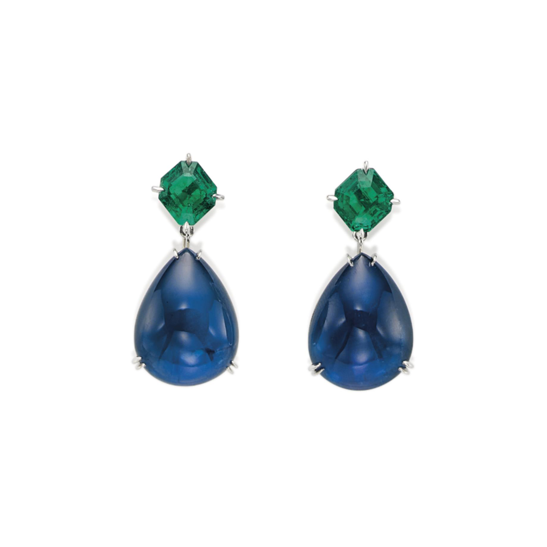 A PAIR OF SAPPHIRE AND EMERALD EARRINGS, BY MEISTER