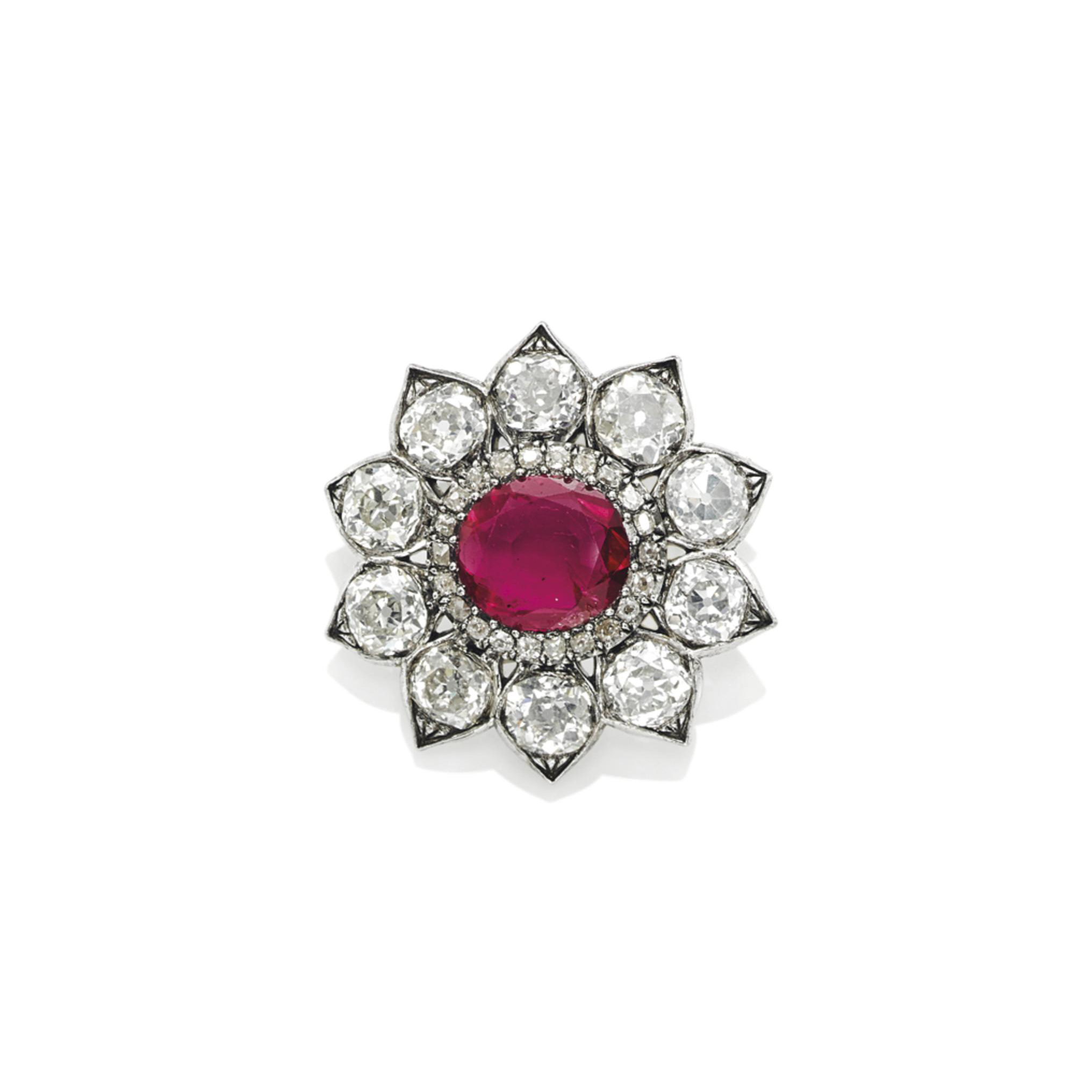 A MID 19TH CENTURY RUBY AND DIAMOND BROOCH/PENDANT