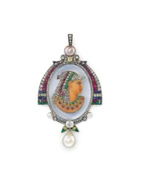 AN EXQUISITE PEARL, COLOURED PEARL AND GEM-SET PENDANT, BY GUSTAVE BAUGRAND