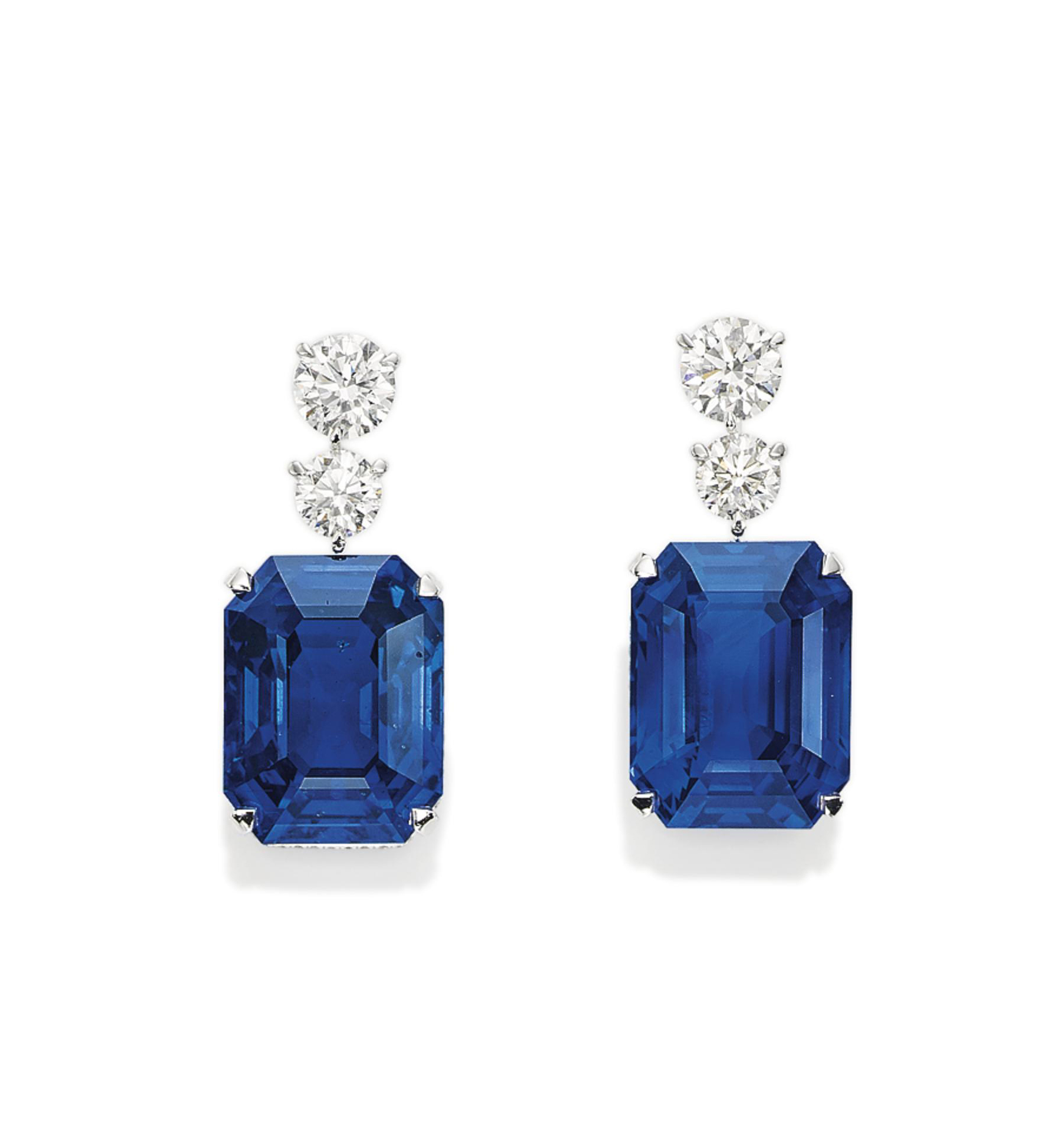AN EXCEPTIONAL PAIR OF SAPPHIRE AND DIAMOND EARRINGS, BY DAVID MORRIS