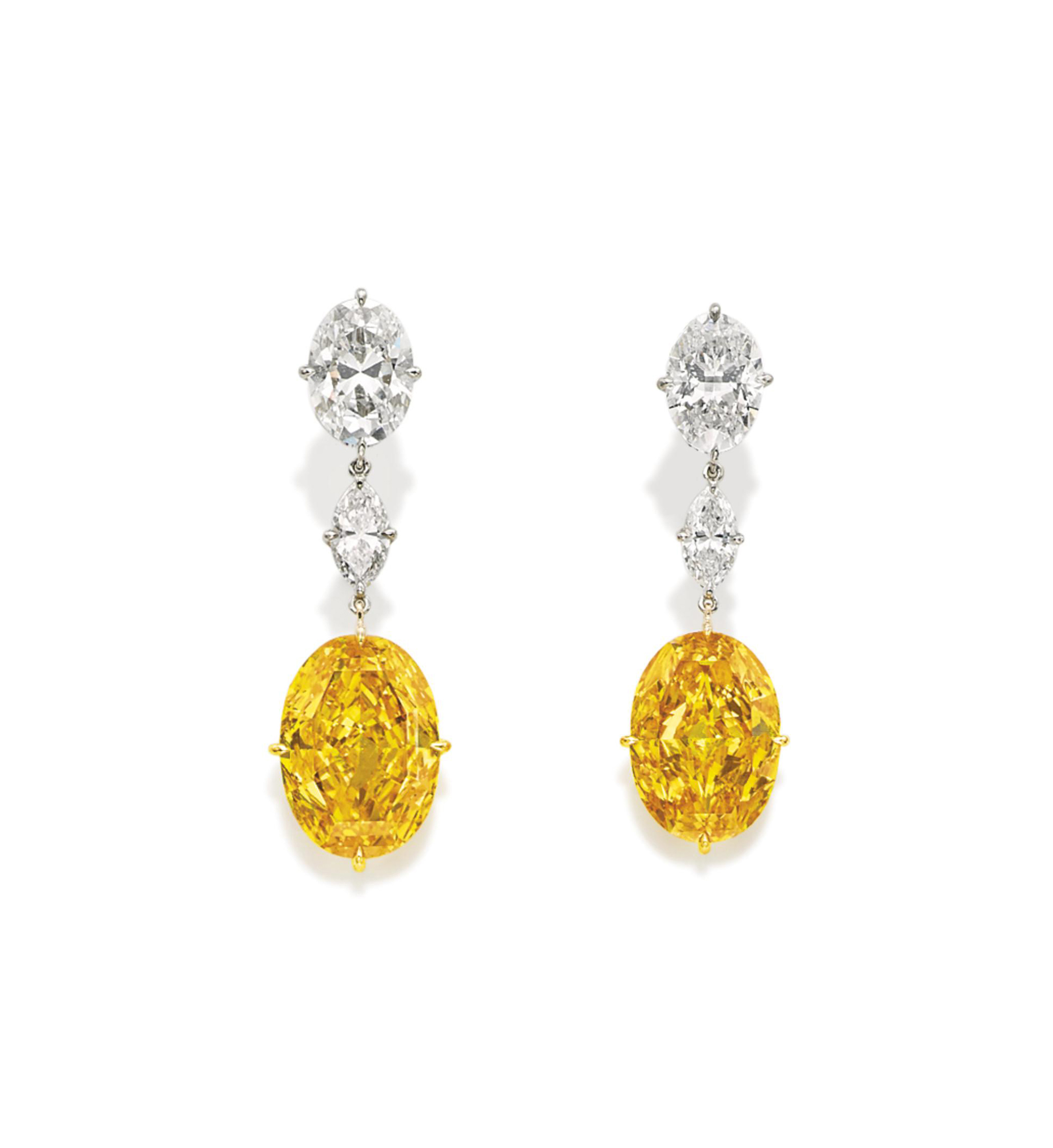 THE ORIENTAL SUNRISE A UNIQUE AND RARE PAIR OF DIAMOND AND COLOURED DIAMOND EARRINGS