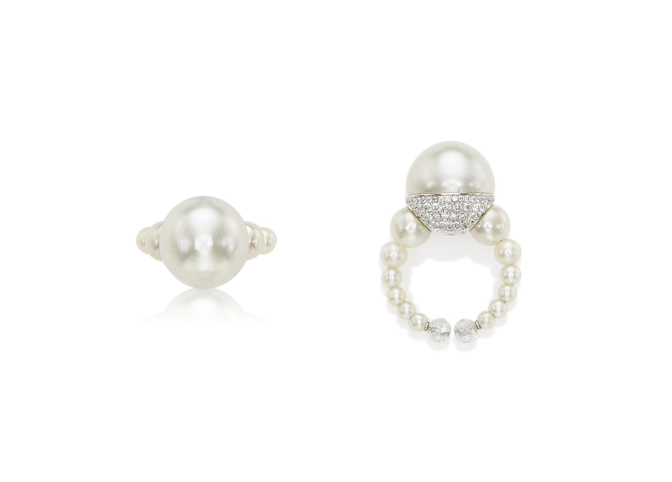 A PEARL, NATURAL PEARL AND DIAMOND RING, BY BHAGAT