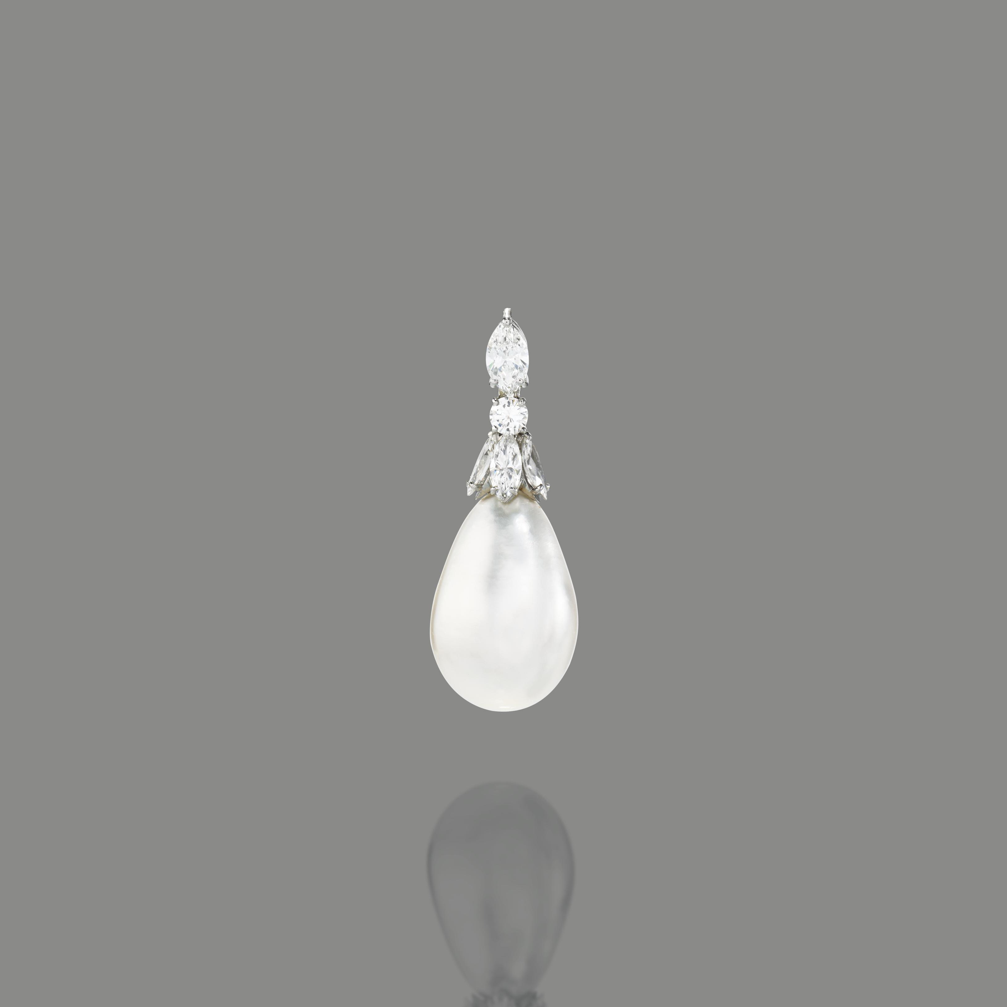 AN EXCEPTIONAL NATURAL PEARL AND DIAMOND PENDANT NECKLACE
