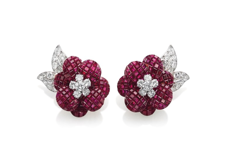 A pair of Mystery Set ruby and diamond Poppy earrings, by Van Cleef & Arpels. Sold for CHF 509,000 on 18 May 2016  at Christie's in Geneva