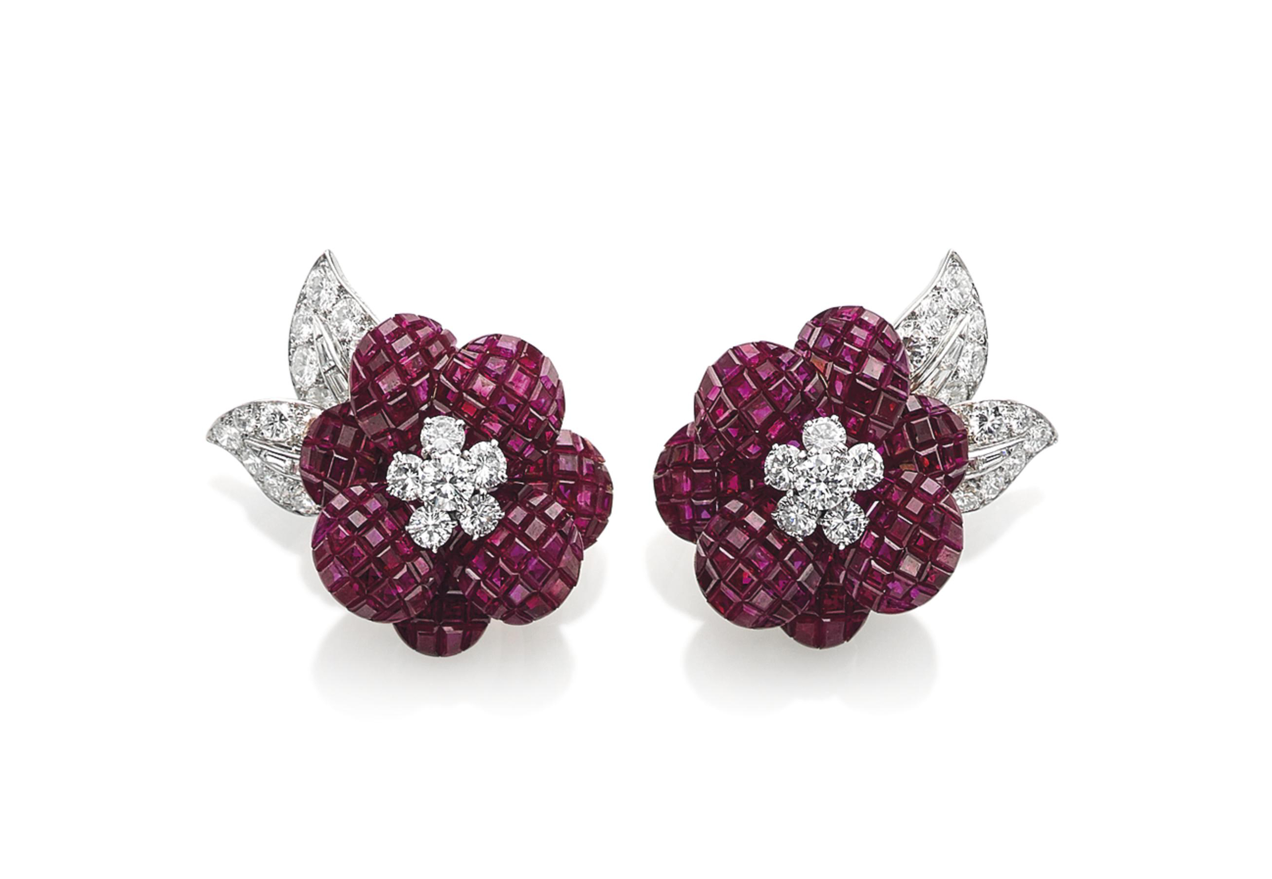 A PAIR OF 'MYSTERY-SET' RUBY AND DIAMOND 'POPPY' EARRINGS, BY VAN CLEEF & ARPELS