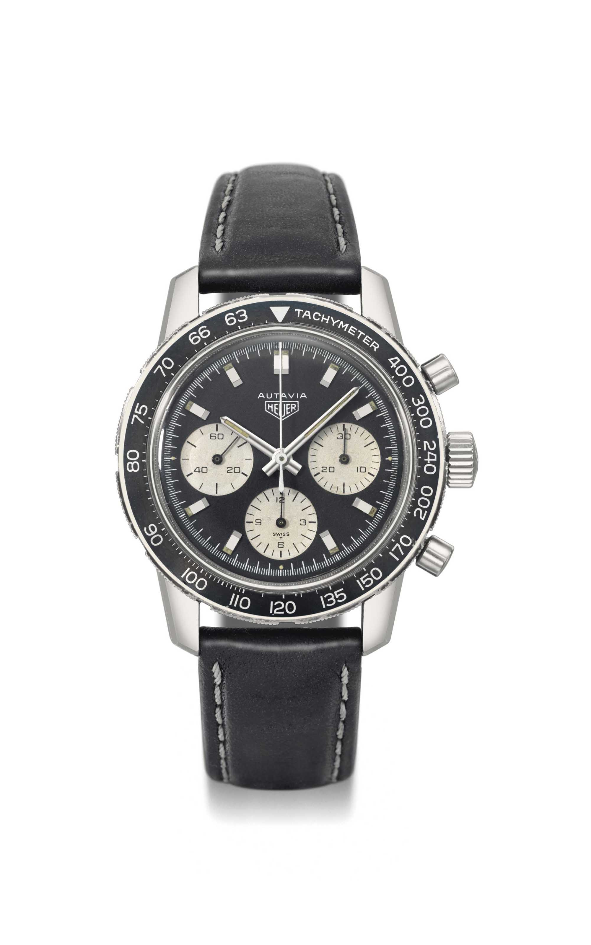 Heuer. A fine and large stainl