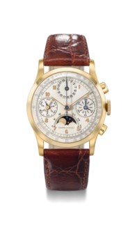 Audemars Piguet. A fine and extremely rare 18K gold triple calendar chronograph wristwatch with moon phases and Certificate