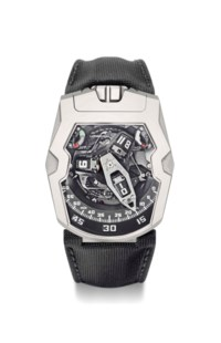 Urwerk. A rare, large and unusual titanium limited edition automatic wristwatch with 3-dimensional satellite hour display, wandering hour and 3-dimensional retrograde minute hand, power reserve, winding efficiency indicator, Certificate of Origin & International Guarantee and box