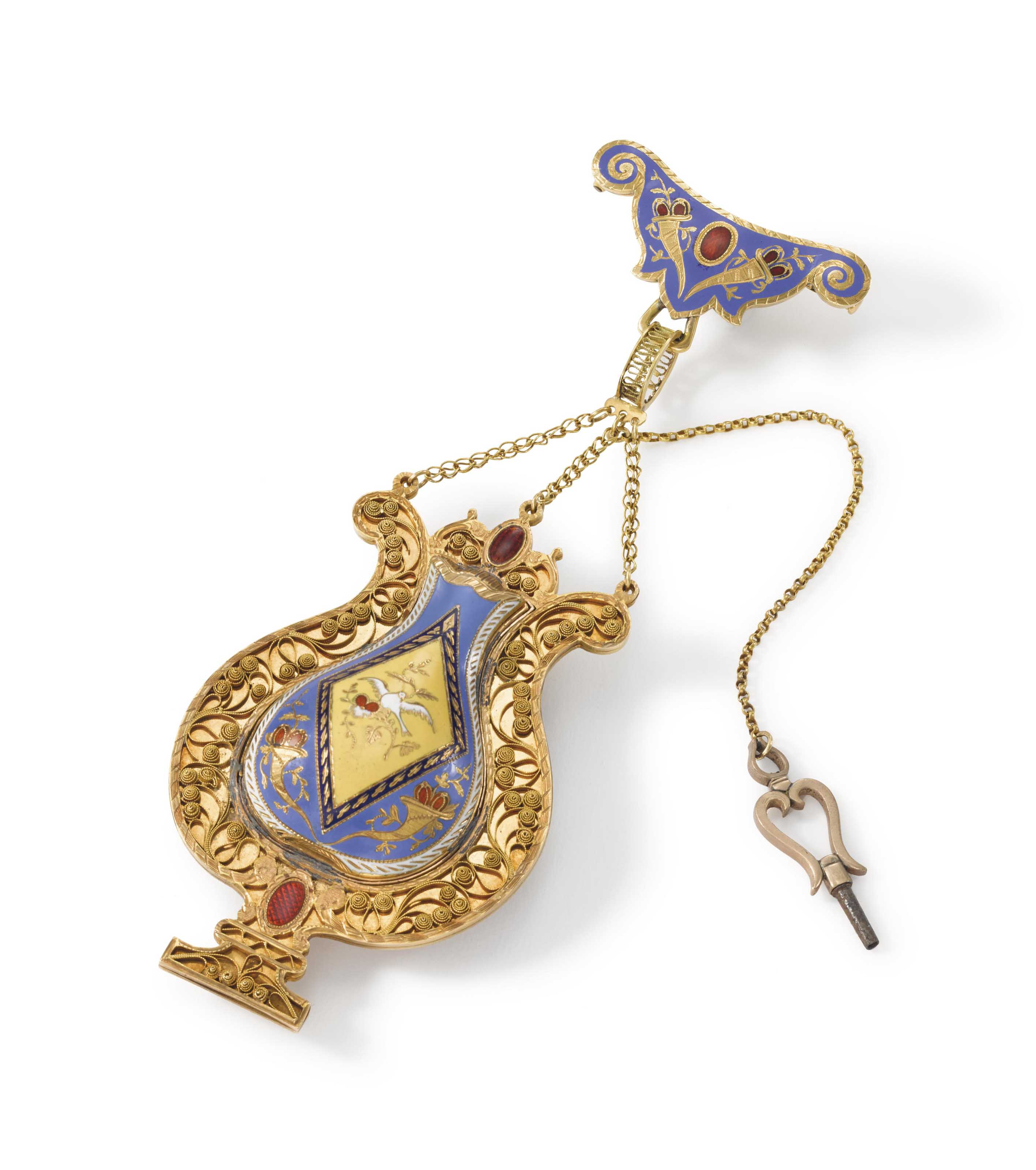 Ls. Duchêne & Fils. A very fine and rare 18K gold and enamel lyre-form pendant watch with concealed dial and visible balance.