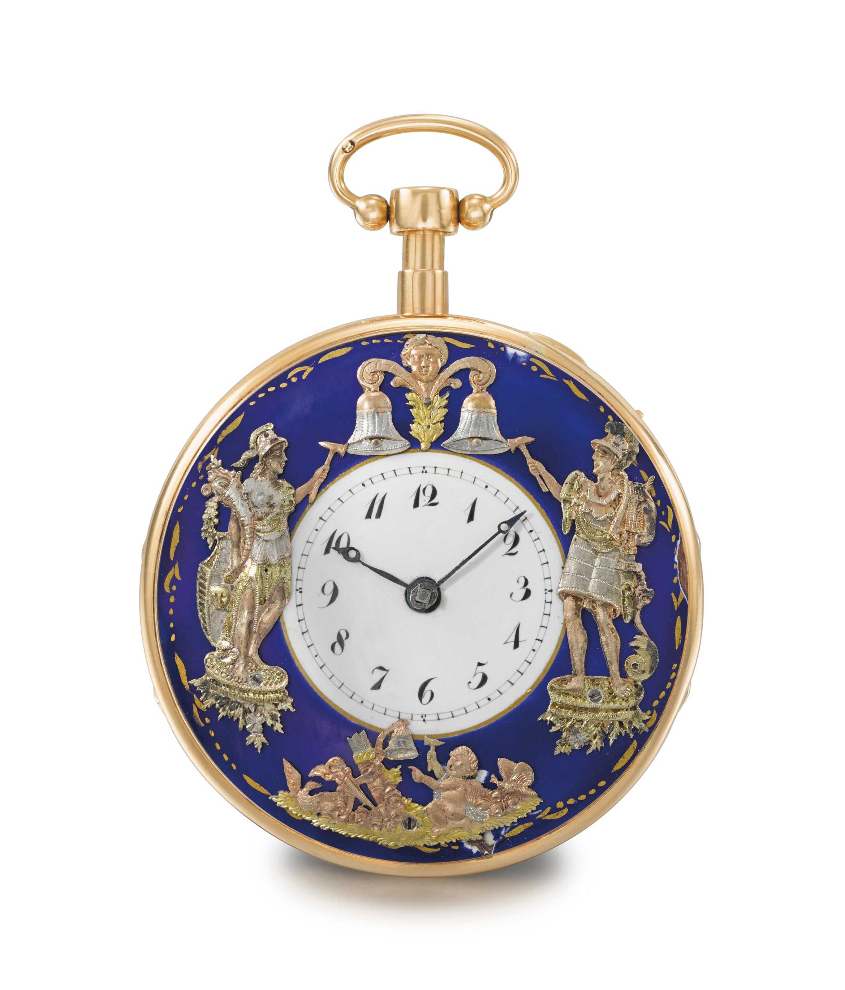 Ducommun. A fine and rare 18K gold quarter repeating verge watch with three jacquemarts