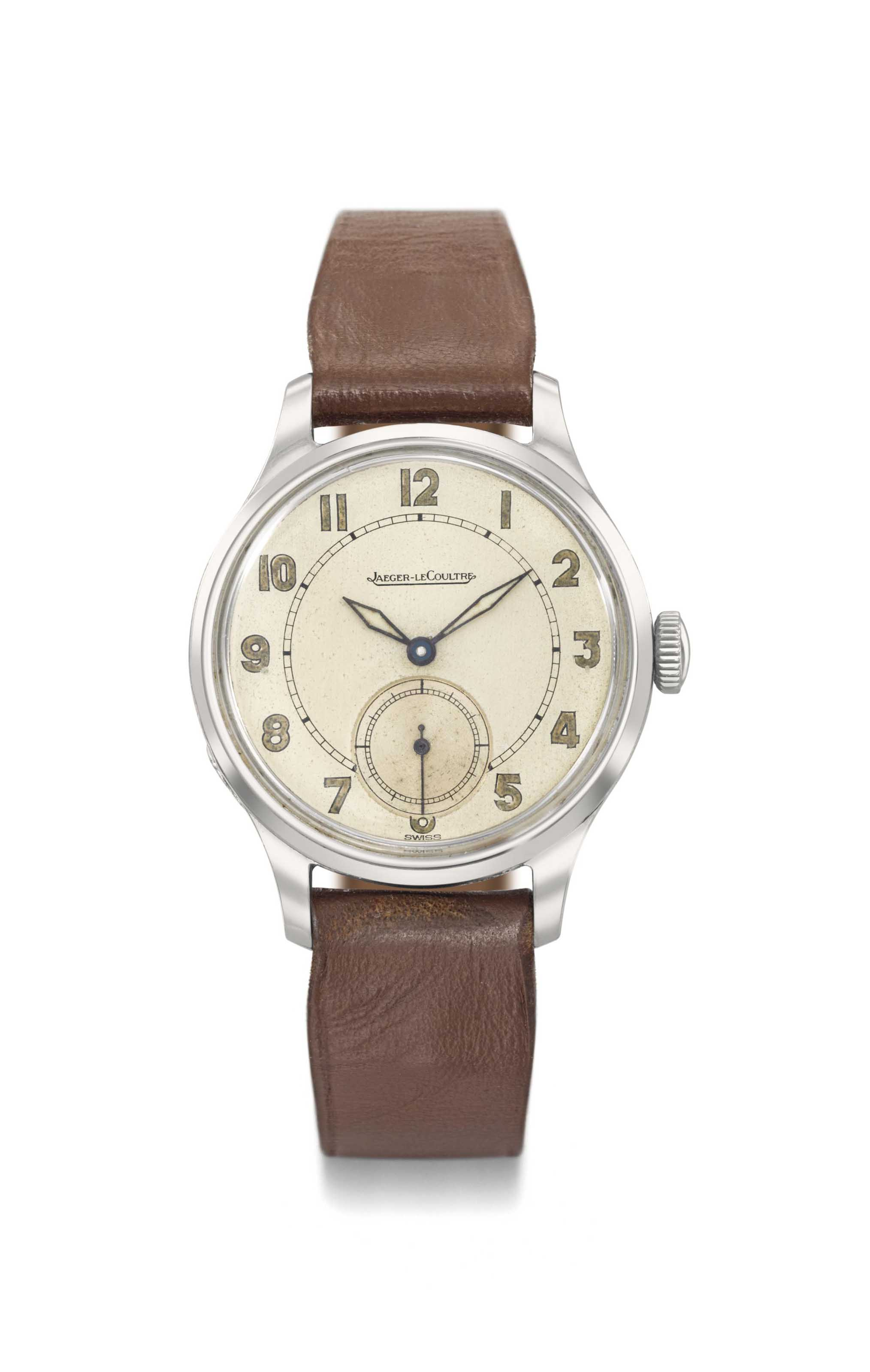 Jaeger-LeCoultre. A very elegant and historically interesting stainless steel wristwatch