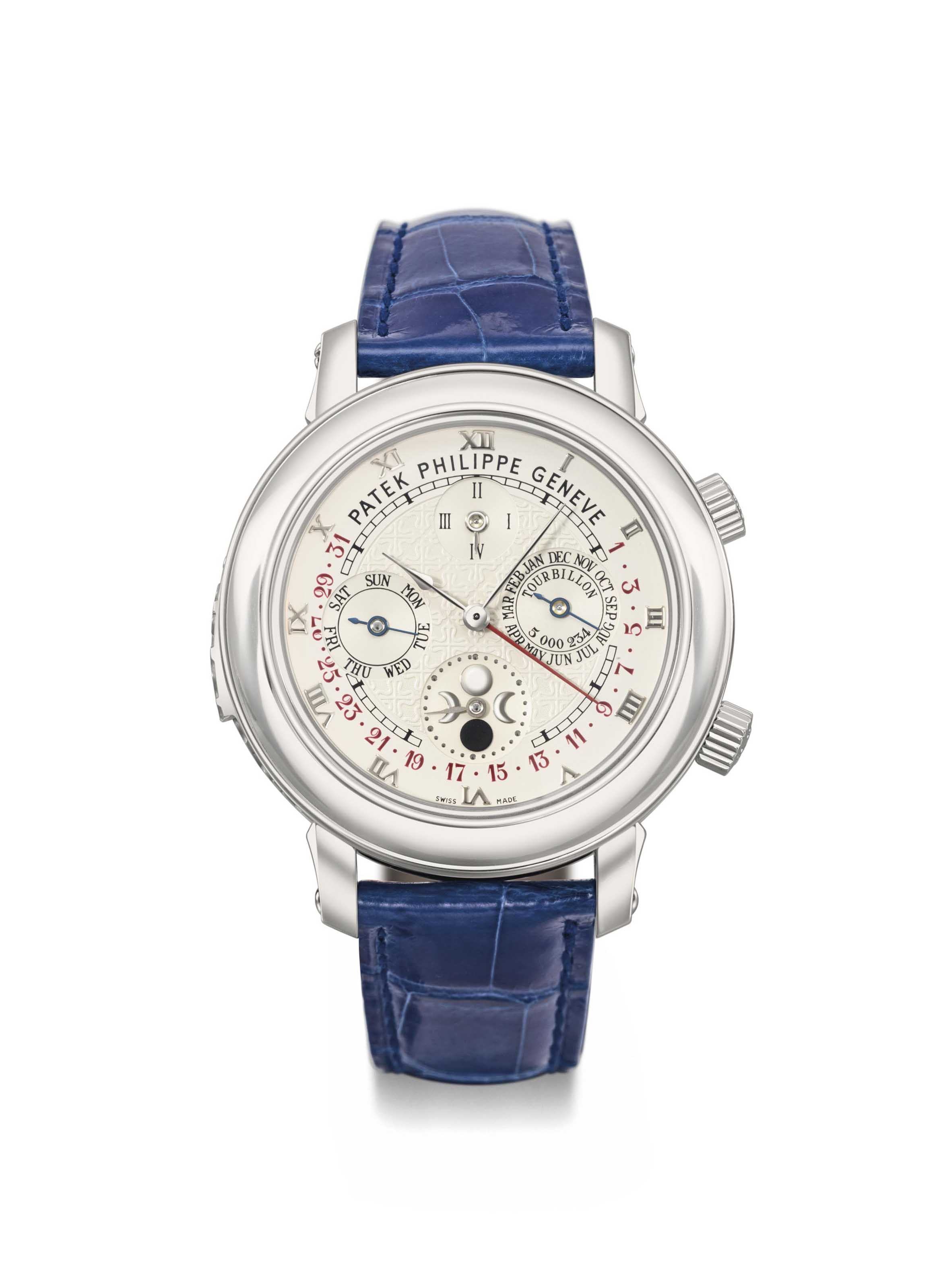 """Patek Philippe. An extremely fine, rare and important platinum double-dial wristwatch with twelve complications including """"cathedral"""" minute repeater, tourbillon, perpetual calendar with retrograde date, moon age and angular motion, sidereal time and sky chart, original certificate, setting pin and special Sky Moon Tourbillon 18K gold mounted box"""