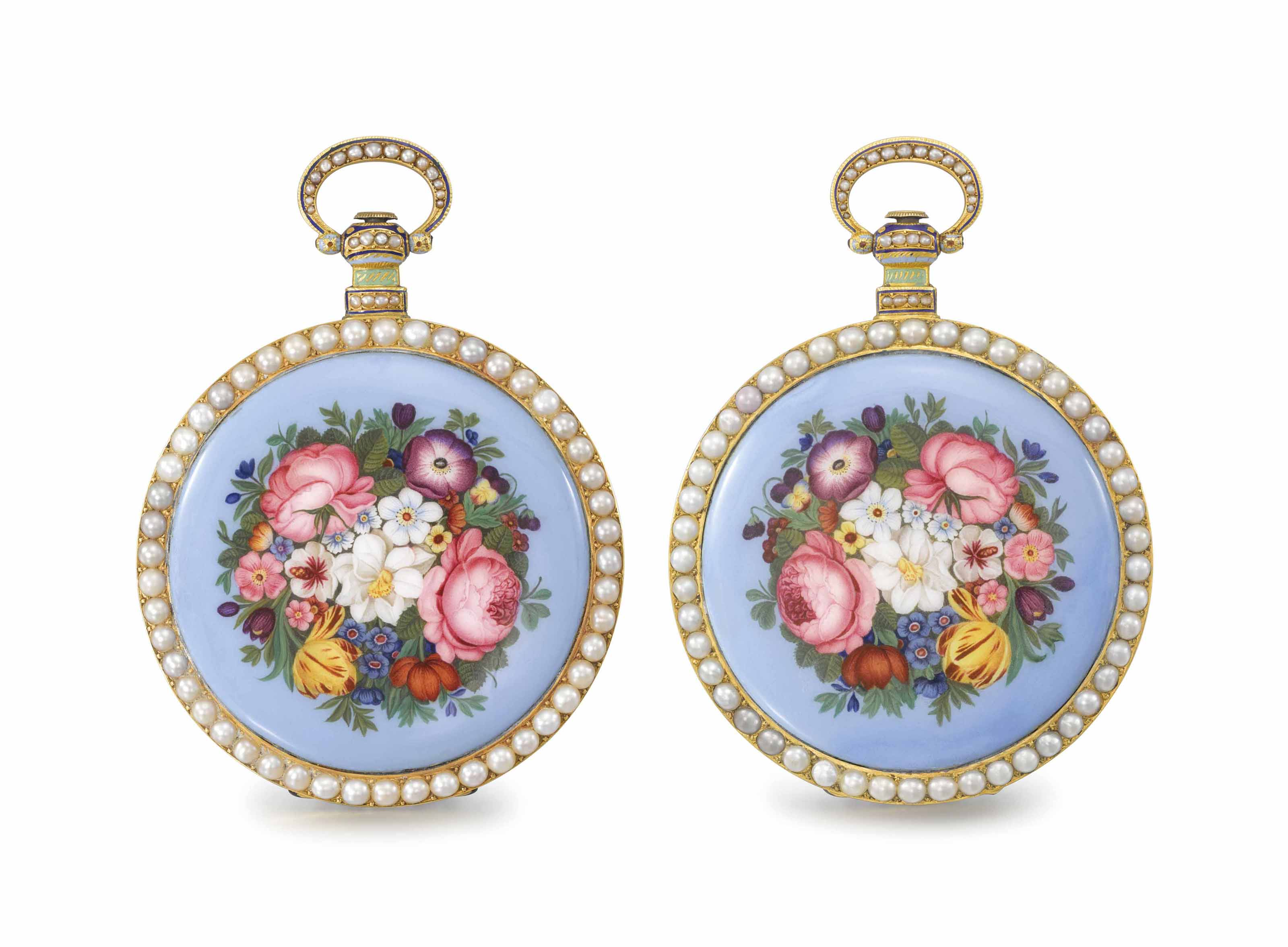Bovet. A very fine, rare and large 18K gold, enamel and pearl-set identical numbered, mirror-image pair of openface centre seconds duplex watches, made for the Chinese market