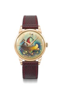 Universal, A very fine, rare and attractive 18K pink gold wristwatch with sweep centre seconds and cloisonné enamel dial