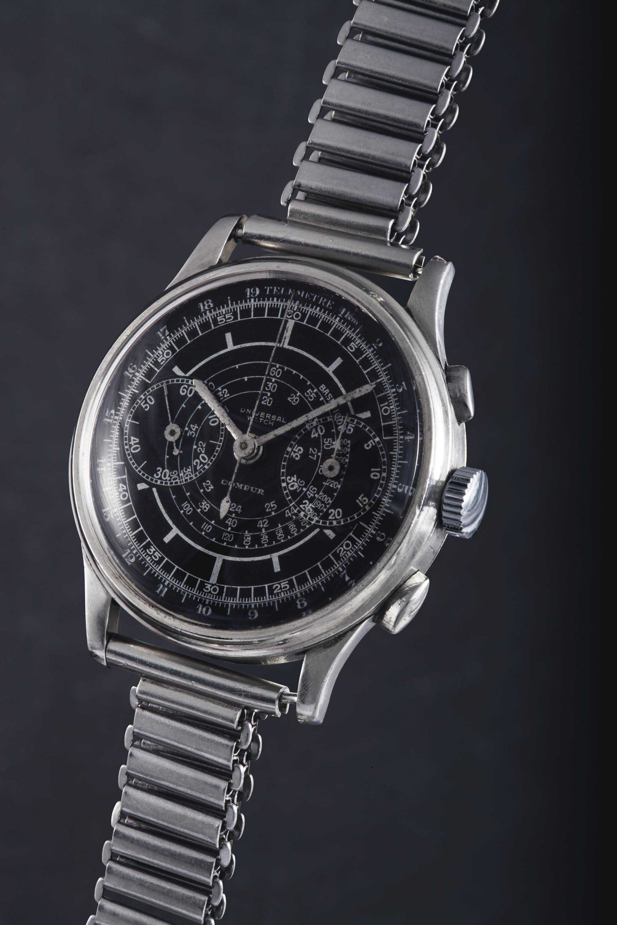 "Universal. A fine, very attractive and extremely rare large stainless steel ""staybrite"" single-button two column wheel chronograph wristwatch with additional stop and restart button, black sector dial and oversized registers"