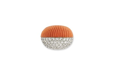 A CORAL AND DIAMOND RING, BY C