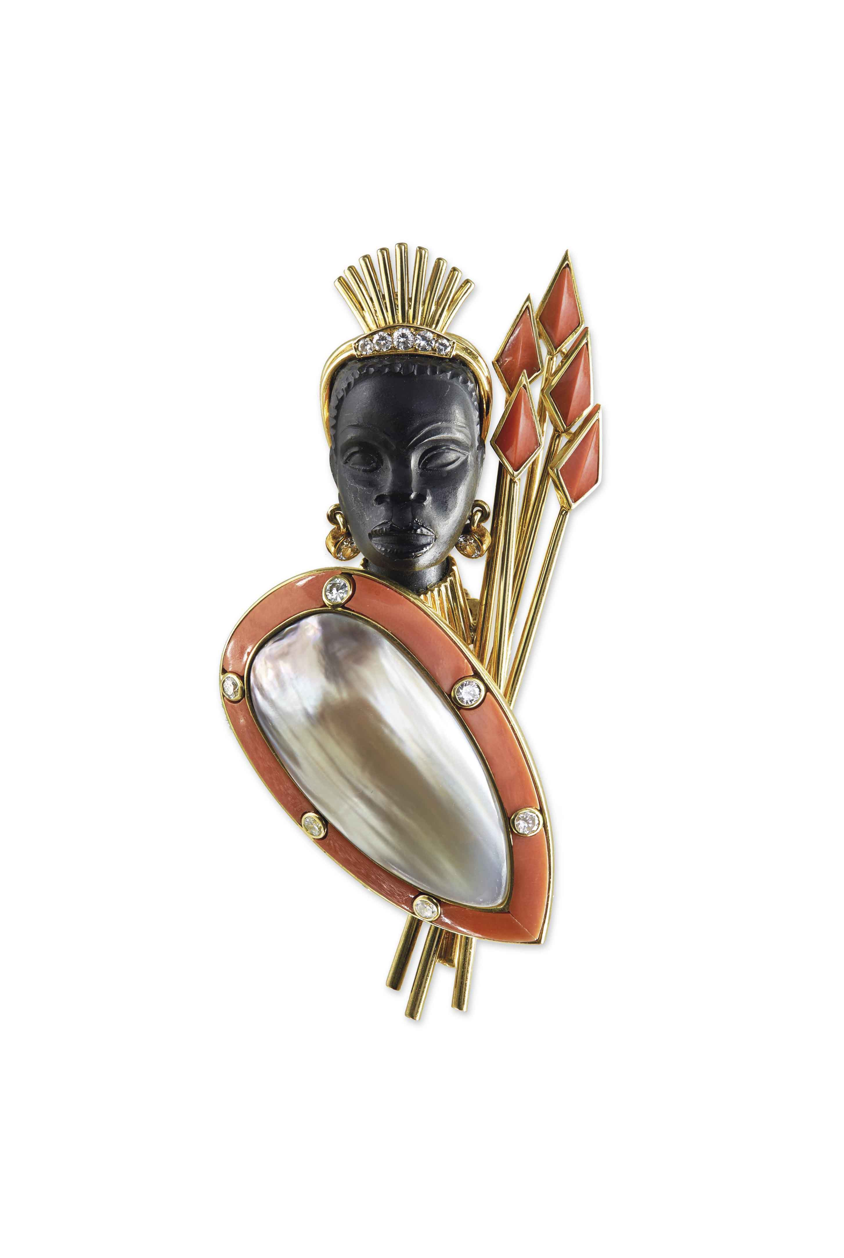 A MULTI-GEM AND BLISTER PEARL 'MAASAI' BROOCH, BY CARTIER
