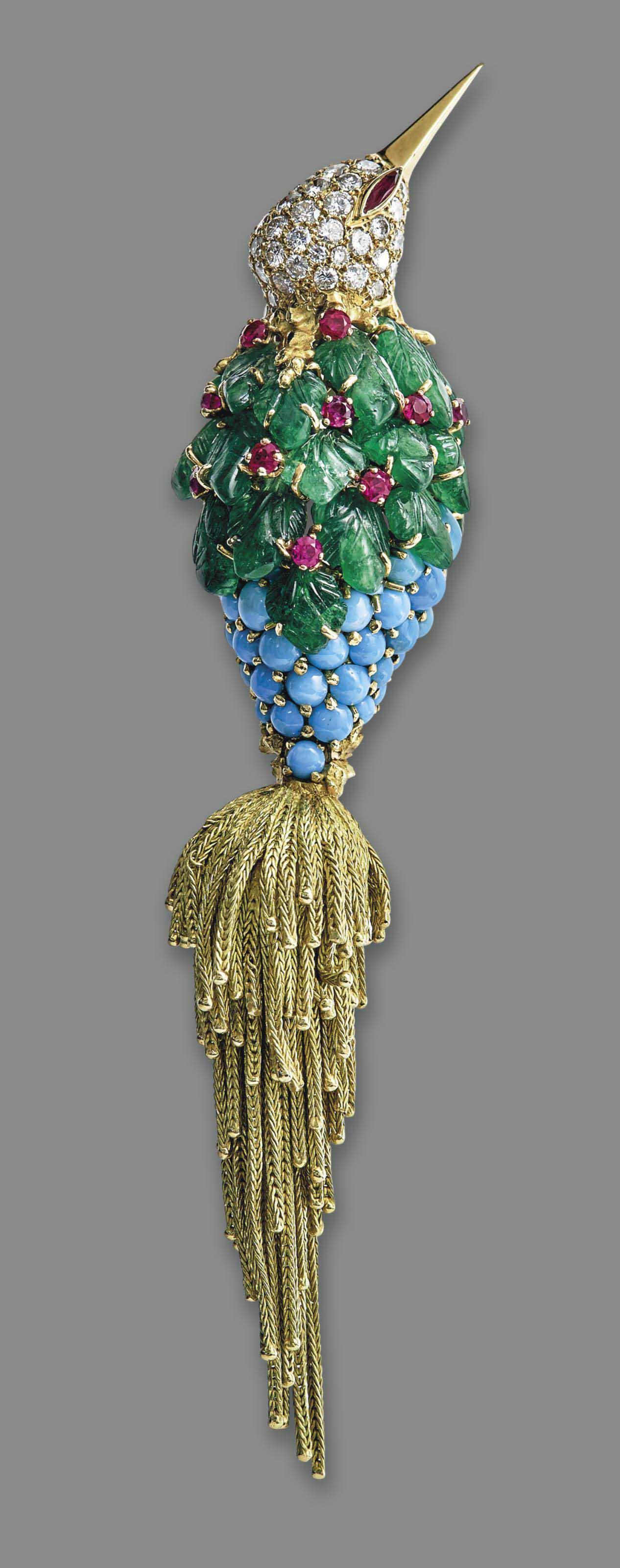 A MULTI-GEM, DIAMOND AND GOLD BIRD BROOCH, BY STERLÉ