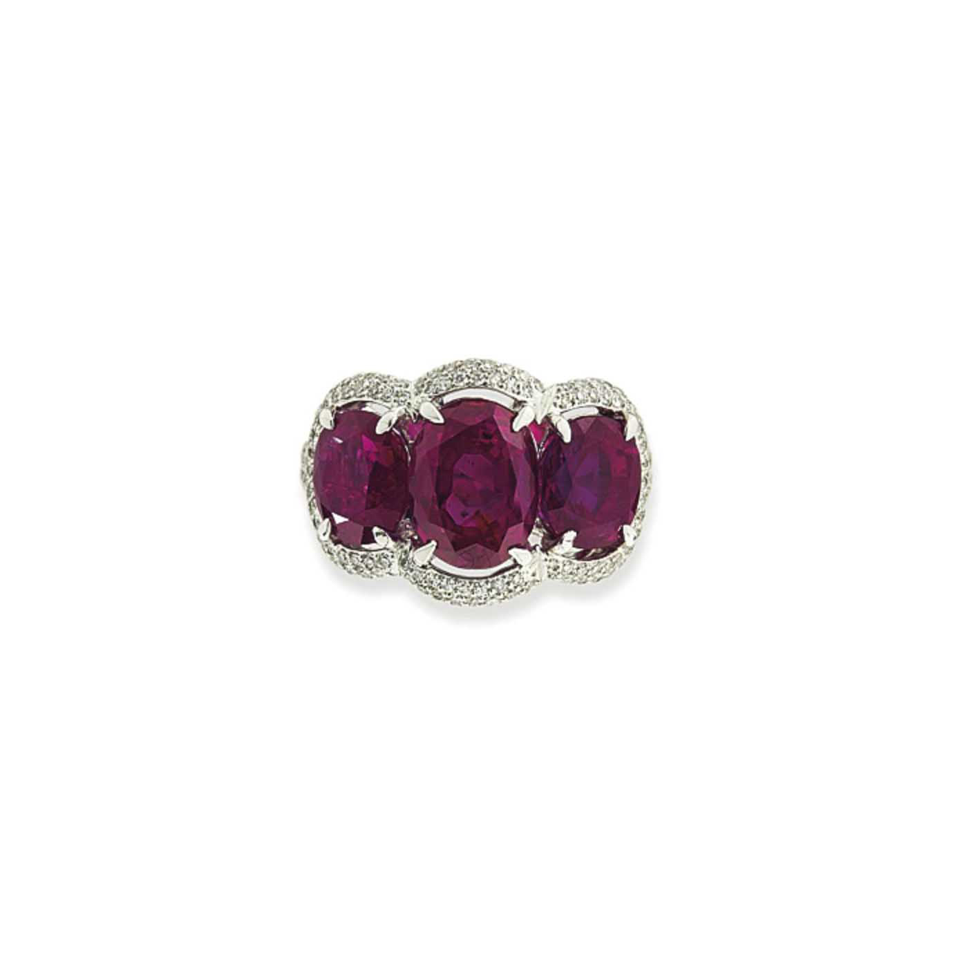 A RUBY AND DIAMOND THREE STONE RING, BY DAVID MORRIS
