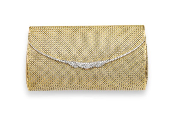 A GOLD AND DIAMOND EVENING BAG