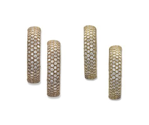TWO PAIRS OF DIAMOND-SET EARRI