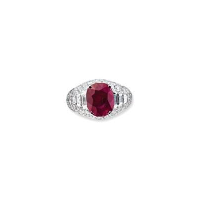 A RUBY AND DIAMOND 'TROMBINO'