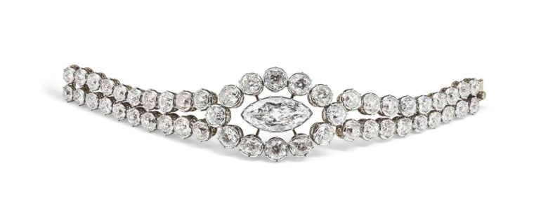This diamond bracelet, mounted by Cartier,sold for CHF 679,500 on 15 November 2016 at Christie's in Geneva. It was owned by Countess Mona Bismarck (1899-1983). The countess enjoyed a close relationship with Cartier, which created, designed and redesigned many pieces in her collection