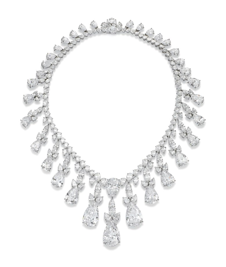 An impressive diamond fringe necklace, by Harry Winston. Sold on 15 November 2016 at Christie's in Geneva