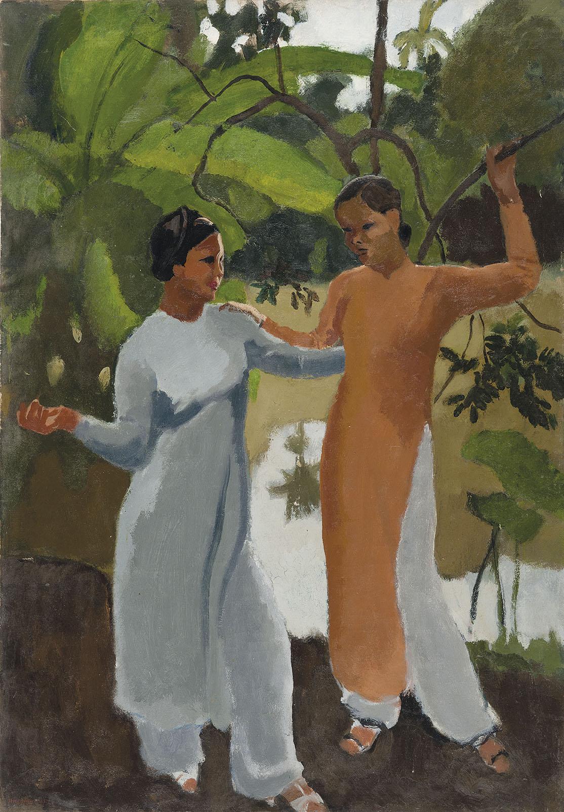 Two Vietnamese Girls in a Landscape