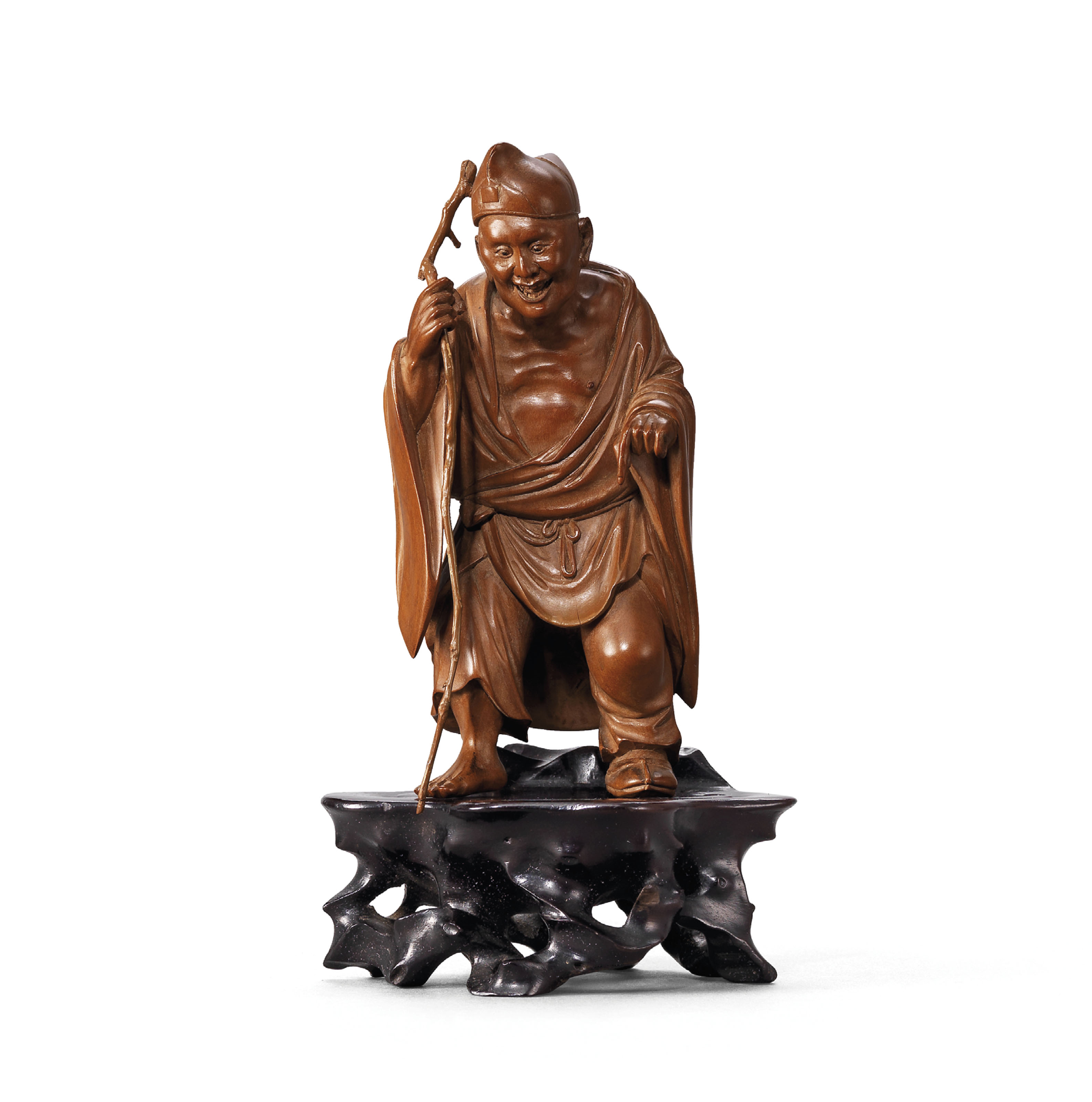A CARVED BOXWOOD FIGURE OF JI GONG