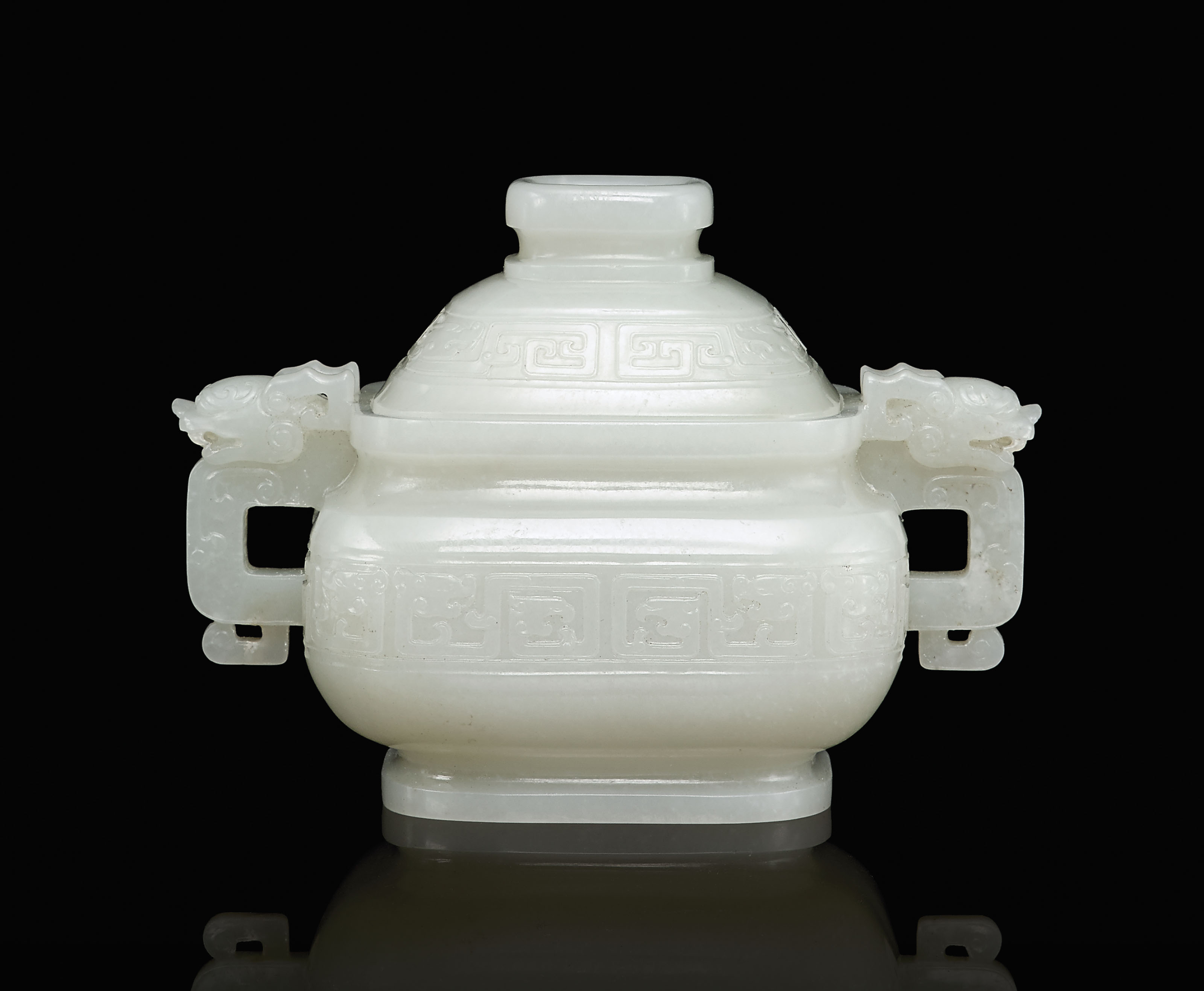 A CARVED WHITE JADE CENSER AND
