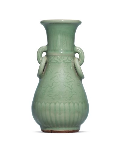 A CARVED LONGQUAN CELADON PEAR