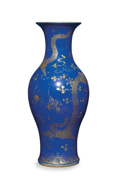 A GILT-DECORATED POWDER BLUE-G
