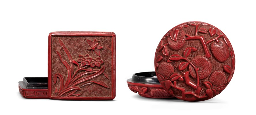 TWO CARVED CINNABAR LACQUER BO