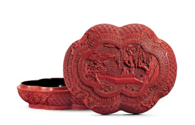 A CARVED CINNABAR LACQUER HEXA