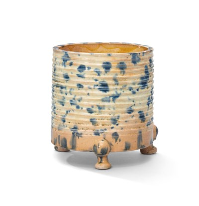 A BLUE-SPLASHED SANCAI-GLAZED