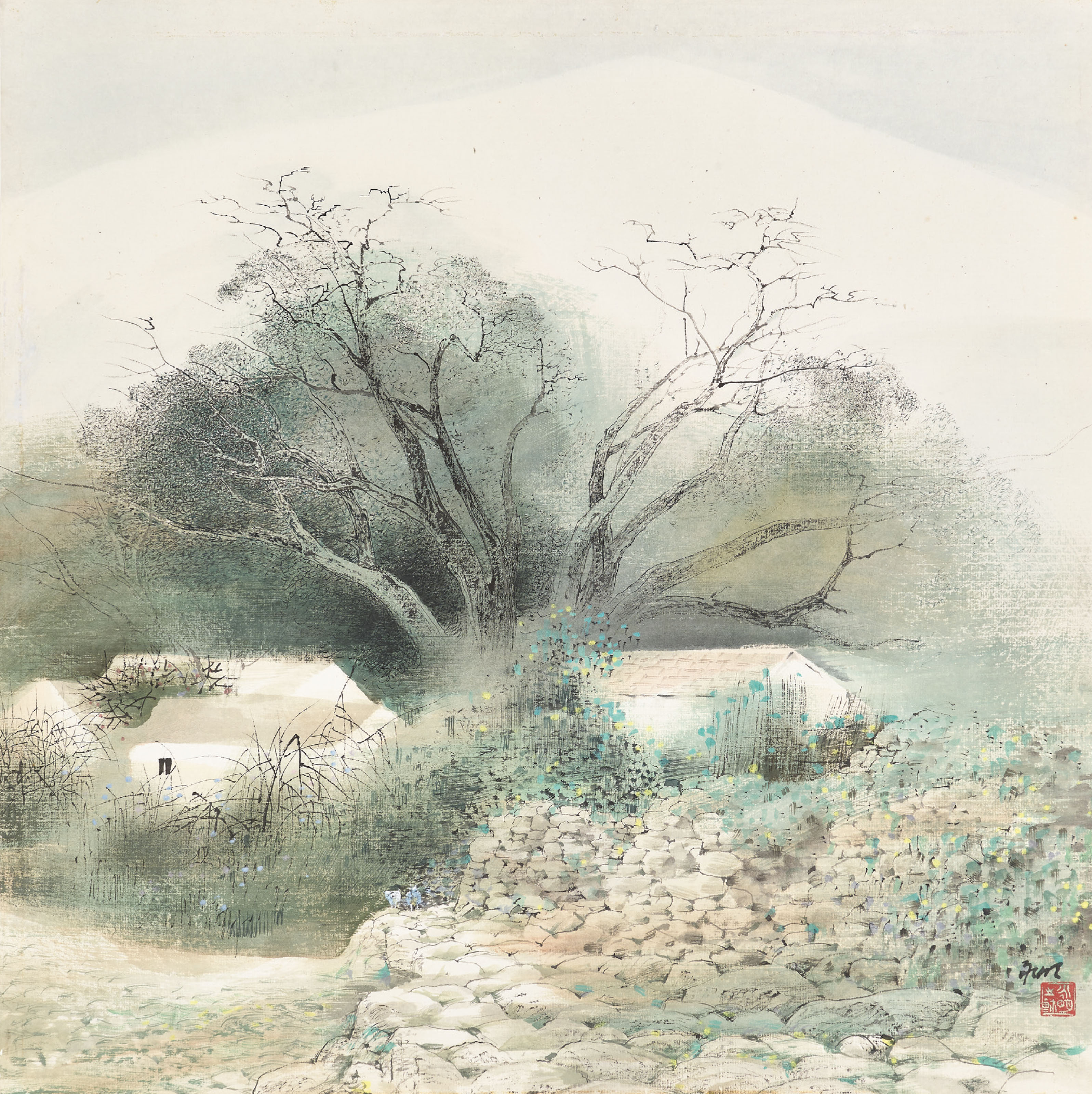 Village with an Old Tree