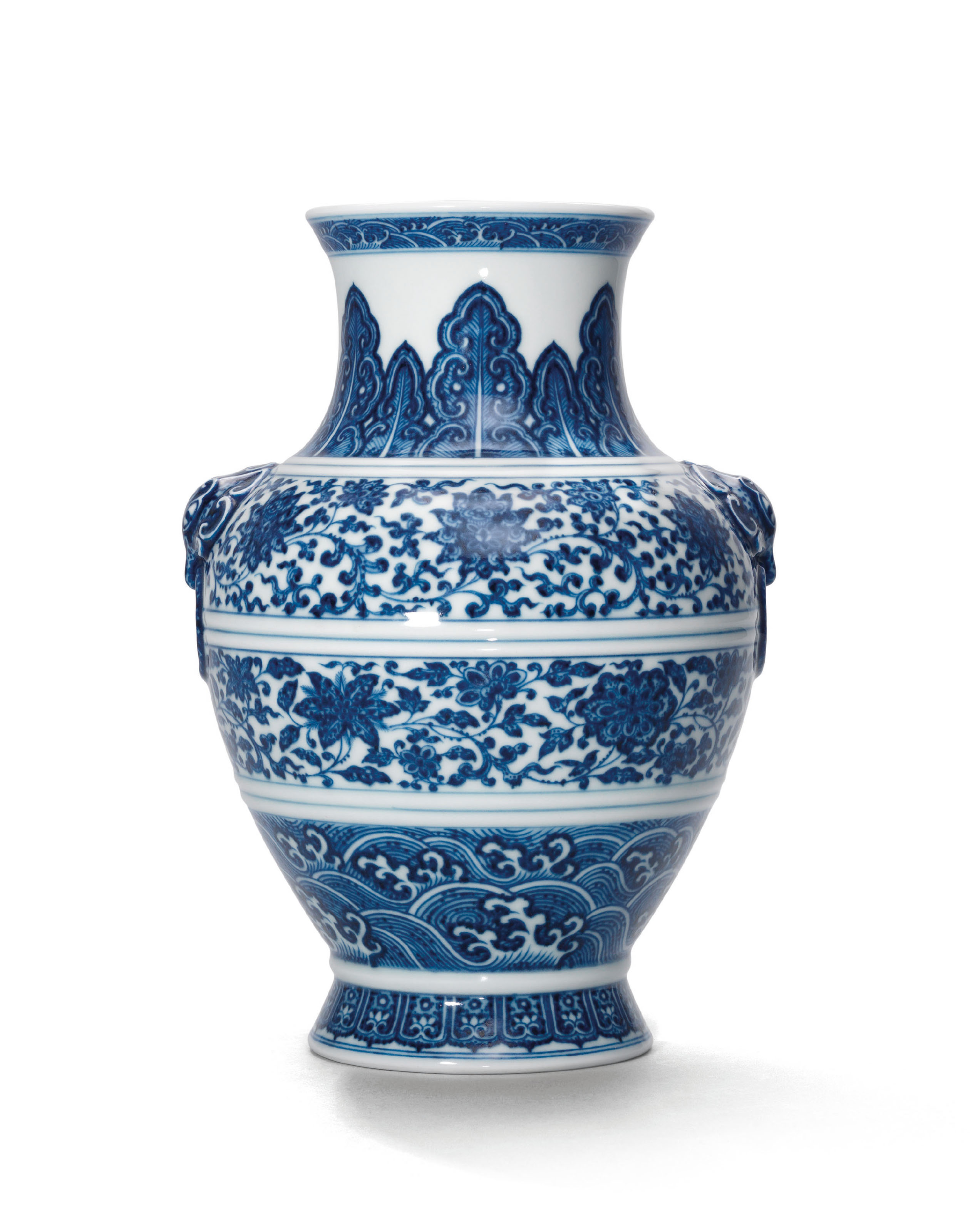 A BLUE AND WHITE HU-FORM VASE