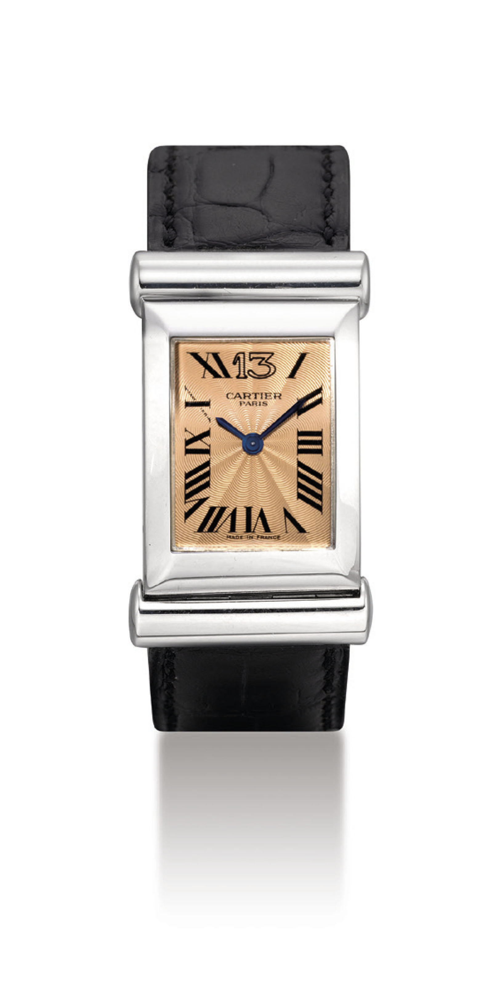 CARTIER. A FINE AND VERY RARE 18K WHITE GOLD LIMITED EDITION RECTANGULAR DRIVER'S WRISTWATCH, MADE TO COMMEMORATE THE 100TH ANNIVERSARY OF CARTIER'S BOUTIQUE AT 13 RUE DE LA PAIX IN PARIS